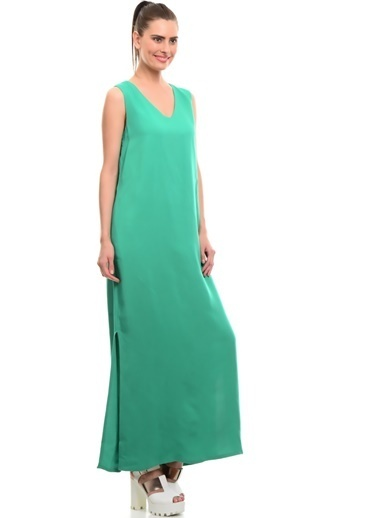 Limon Company V Yaka Yırtmaçlı Uzun Elbise Yeşil
